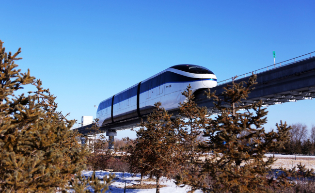 Chinese electric vehicle maker BYD launches an unmanned driving system for its monorail, known as SkyRail, in Yinchuan, capital of Ningxia Hui Autonomous Region, January 10, 2018. [Photo provided to China Plus]