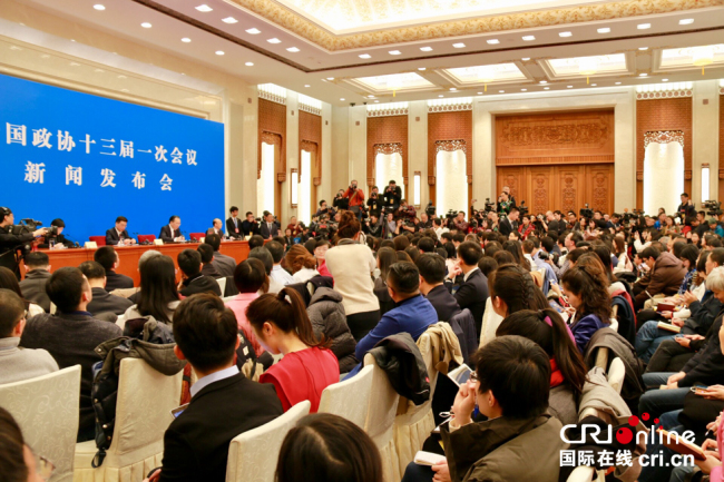 Journalists attend a news conference held by the Chinese People's Political Consultative Conference (CPPCC) on its annual session in Beijing on Friday, March 2, 2018. [Photo: China Plus]