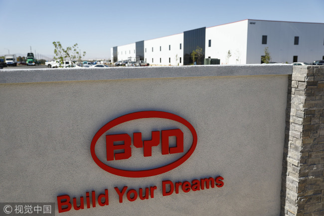 Signage is displayed outside the BYD Coach and Bus factory in Lancaster, California, U.S.BYD unveiled the newly expanded 450,000 square foot factory on Oct. 6, North America's largest electric bus manufacturing facility. [Photo: VCG]