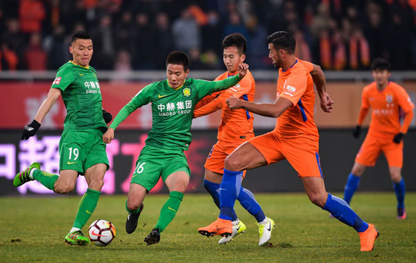 Shandong Luneng wins their home opener over Beijing Guoan in the first round of the Chinese Super League (CSL) new season in Jinan, east China's Shandong Province, on March 4, 2018. [Photo: Imagine China]