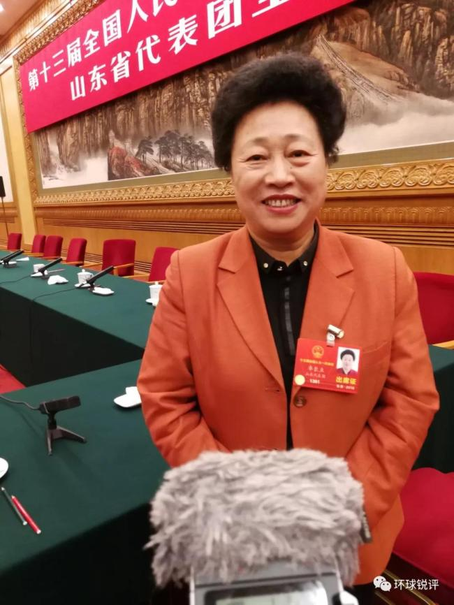 Zhuo Changli, a deputy from Shandong Province for the 13th National People's Congress (NPC) is interviewed by journalists on March 8, 2018. [Photo: China Plus]