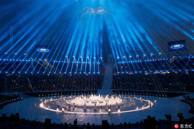 A photo shows artists performing during the Opening Ceremony for the Paralympic Winter Games in the PyeongChang Olympic Stadium, PyeongChang, South Korea, 09 March 2018. [Photo: IC]
