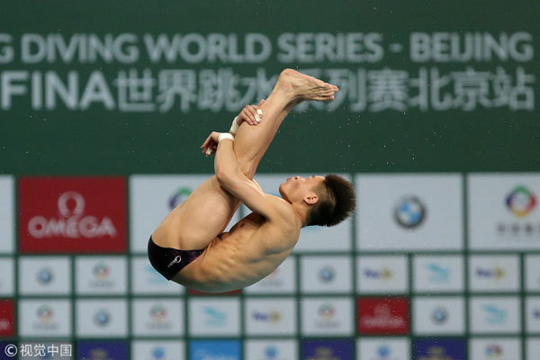 China's Yang Jian competes during the men's 10m platform final at the FINA Diving World Series 2018 in Beijing on March 11, 2018. [Photo: VCG]