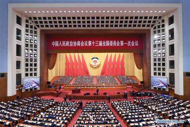 The third plenary meeting of the first session of the 13th National Committee of the Chinese People's Political Consultative Conference (CPPCC) is held at the Great Hall of the People in Beijing, capital of China, March 10, 2018. [Photo: Xinhua/Zhang Ling]