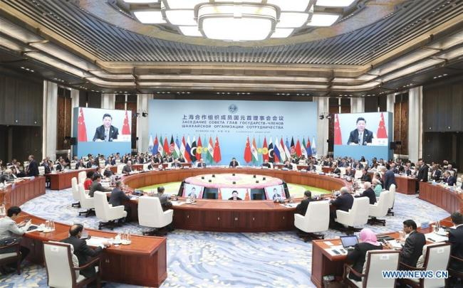 The 18th Meeting of the Council of Heads of Member States of the Shanghai Cooperation Organization (SCO) is held in Qingdao, east China's Shandong Province, June 10, 2018. Chinese President Xi Jinping chaired the meeting and delivered a speech.[Photo: Xinhua]