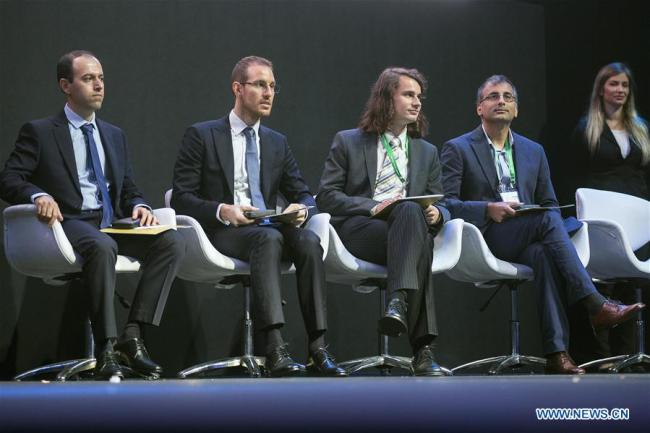 The Fields Medal winners Caucher Birkar of Iran, Alessio Figalli of Italy, Peter Scholze of Germany and Akshay Venkatesh of India (L to R) are pictured during the opening ceremony of the 2018 International Congress of Mathematicians in Rio de Janeiro, Brazil, on Aug. 1, 2018. [Photo: Xinhua]