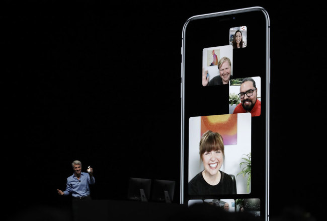 Craig Federighi, Apple's senior vice president of Software Engineering, speaks about group FaceTime during an announcement of new products at the Apple Worldwide Developers Conference Monday, June 4, 2018, in San Jose, Calif. [File photo: AP/Marcio Jose Sanchez]