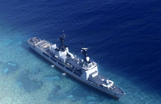 The Philippine Navy ship BRP Gregorio del Pilar is seen after it ran aground during a routine patrol in the vicinity of Half Moon Shoal, which is called Hasa Hasa in the Philippines, off the disputed Spratlys Group of islands in the South China Sea, August 31, 2018. [Photo: Armed Forces of the Philippines via AP]