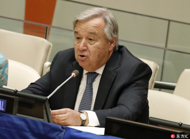 UN Secretary General Antonio Guterres speaks at the High-level Meeting on Financing the 2030 Agenda for Sustainable Development at United Nations headquarters in New York, New York, USA, 24 September 2018. The General Debate of the 73rd session begins on 25 September 2018. [Photo: IC]