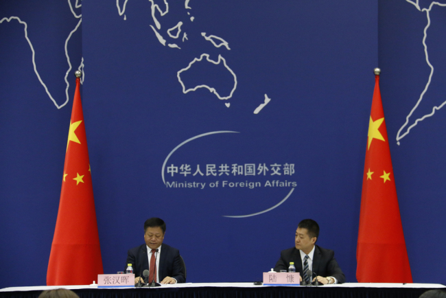 China's Assistant Foreign Minister Zhang Hanhui briefs the press on Chinese President Xi Jinping's upcoming visit to Vladivostok, Russia at a news conference held in Beijing on Friday, September 7, 2018. [Photo: China Plus]