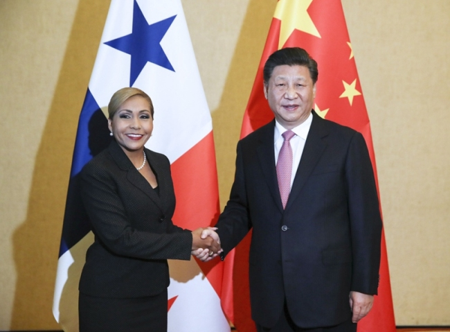 Chinese President Xi Jinping meets with  Yanibel Abrego, president of the National Assembly of Panama on December 3, 2018, in Panama City. [Photo: Xinhua]