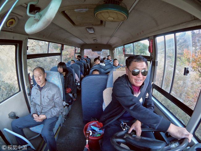 Interior view of a school bus in Huachangyu village, Hebei Province, October 18 2018. [Photo: VCG]