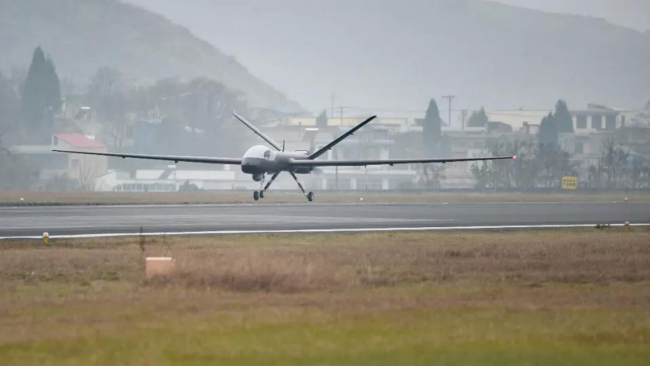 The Wing Loong I-D, China's first multipurpose drone completely made of composites, takes off from an airport in western China on Sunday, December 23, 2018. [Photo: huanqiu.com]