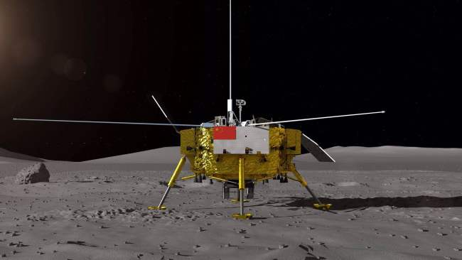 An artist's rendering of Chang'e 4 lander on the moon [Photo provided by State Administration of Science, Technology and Industry for National Defence to China Plus]