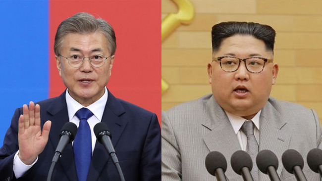 South Korean President Moon Jae-in (L) and Kim Jong Un, top leader of the Democratic People's Republic of Korea [Photo: China Plus]