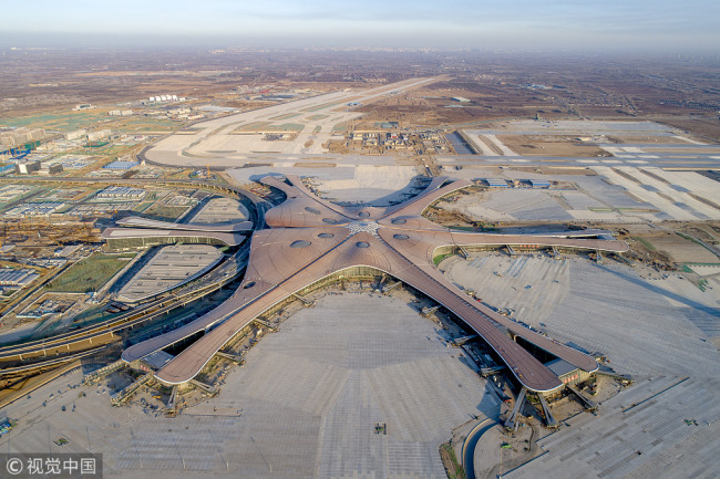 Aerial photo taken on Jan. 4, 2019 shows Beijing Daxing International Airport. [Photo: VCG]