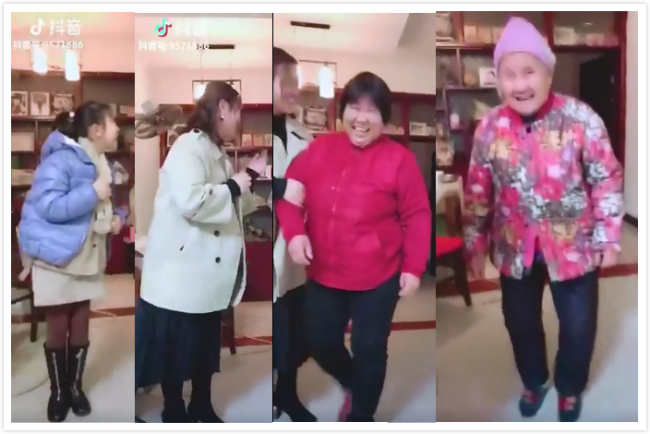 "A ""Four generations under one roof"" themed challenge video shows four generations of family members. The video published in December has gained over 2.2 million likes. [Screenshot: China Plus]"