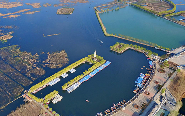 Aerial photo of Baiyangdian, northern China's largest freshwater wetland, which will be part of the Xiongan New Area.[Photo:Xinhua]