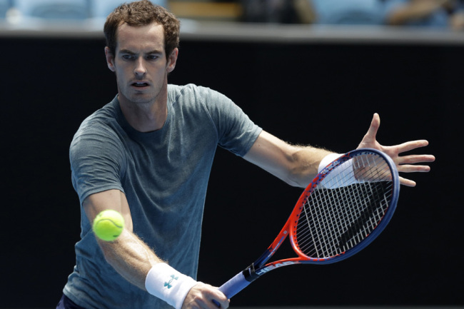 Britain's Andy Murray makes a backhand return to Serbia's Novak Djokovic during a practice match on Margaret Court Arena ahead of the Australian Open tennis championships IN Melbourne, Australia, Thursday, Jan. 10, 2019. [Photo: AP]