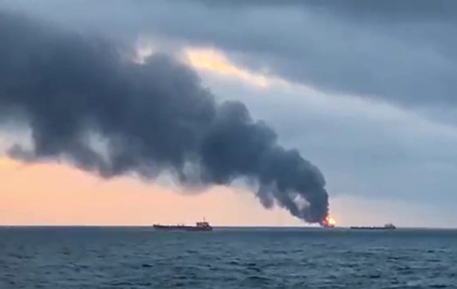 An image grab taken from AFP TV on January 21, 2019 shows a burning ship after a fire engulfed at two gas tankers in the Black Sea off Crimea. [Photo: AFP]