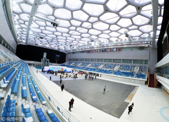 The iconic Water Cube that was used in the Beijing Summer Olympics is undergoing a dramatic transformation to the Ice Cube, and is set to host the curling events for the Beijing 2022 Winter Games. [Photo: VCG]