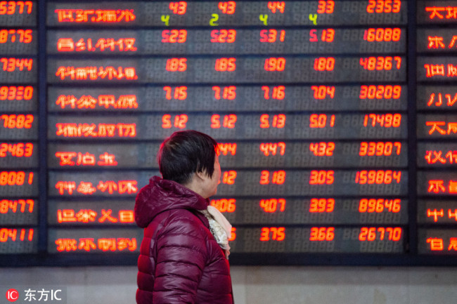 A Woman monitors stock prices at a brokerage house in Nanjing, Monday, Feb. 11, 2019. [Photo: IC]