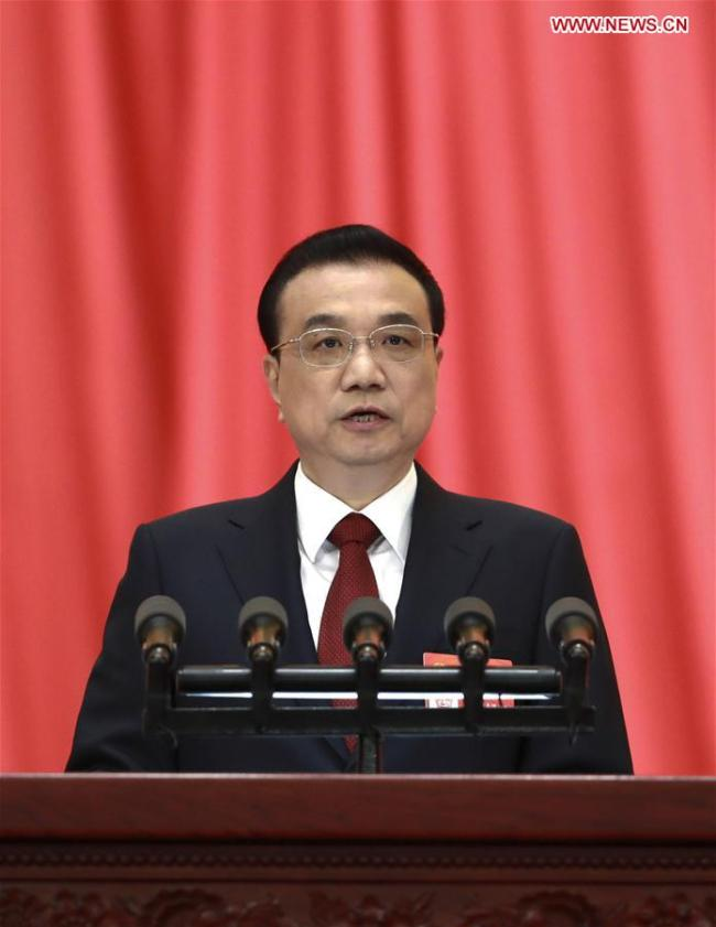 Chinese Premier Li Keqiang delivers a government work report at the opening meeting of the second session of the 13th National People's Congress at the Great Hall of the People in Beijing, capital of China, March 5, 2019. [Photo: Xinhua/Pang Xinglei]