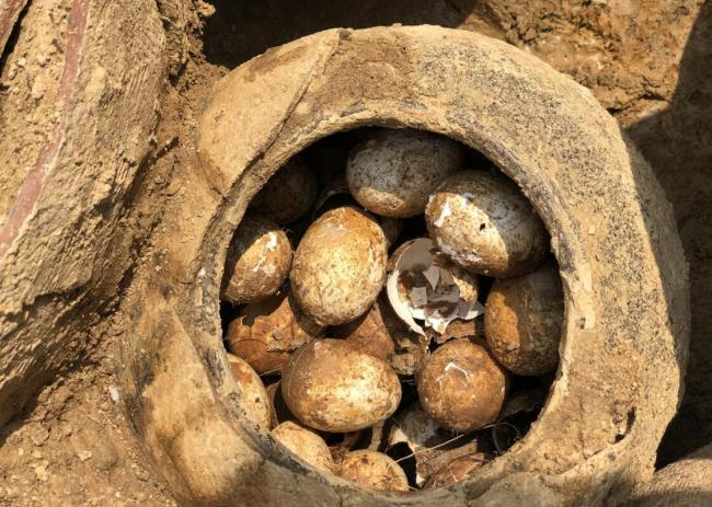 A pot of eggs was found in a tomb in Shangyang Village, Liyang, Jiangsu province on March 24, 2019. [Photo: jschina.com.cn]