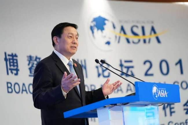 Guo Weimin, the vice minister of the State Council Information Office, makes a speech during the Boao Forum for Asia annual conference in Boao, Hainan Province. [Photo: China Plus]