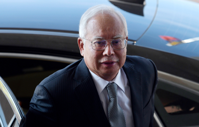Malaysia's former Prime Minister Najib Razak arrives at the Kuala Lumpur High Court for his trial over 1MDB corruption allegations in Kuala Lumpur on April 15, 2019. [Photo: AFP]
