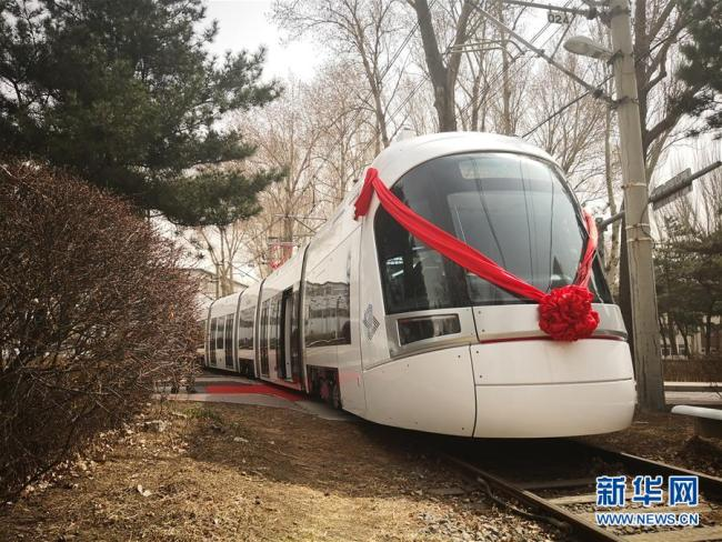 The low-floor train made by CRRC Changchun for the Tel Aviv light rail. [Photo: Xinhua]