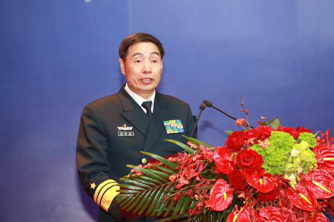 Shen Jinlong, the commander of the Chinese navy, speaks at the seminar on Building a Maritime Community of Shared Future in Qingdao on Apr 24, 2019. [Photo provided to China Plus]