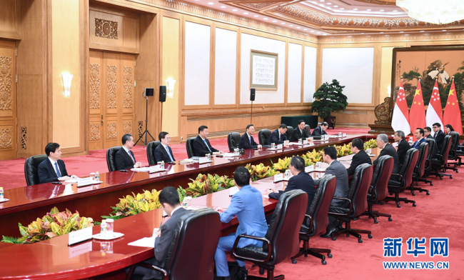 Chinese President Xi Jinping meets with Singapore's Prime Minister Lee Hsien Loong at the Great Hall of the People in Beijing, capital of China, April 29, 2019.[Photo: Xinhua/Xie Huanchi]