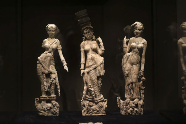 Three ivory sculptures unearthed at Begram Kushan in Afghanistan that date back to the first century A.D. [Photo: IC]