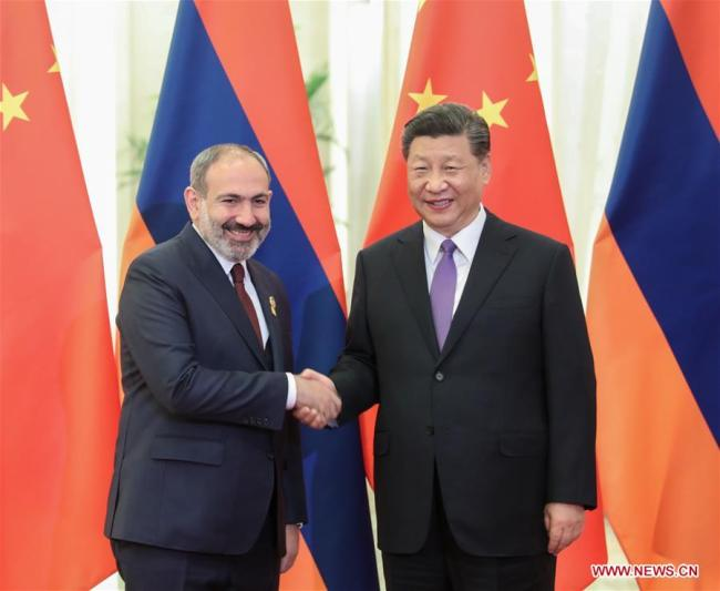 Chinese President Xi Jinping (R) meets with Armenian Prime Minister Nikol Pashinyan, who is in China to attend the Conference on Dialogue of Asian Civilizations (CDAC), at the Great Hall of the People in Beijing, capital of China, May 14, 2019. [Photo: Xinhua/Yao Dawei]