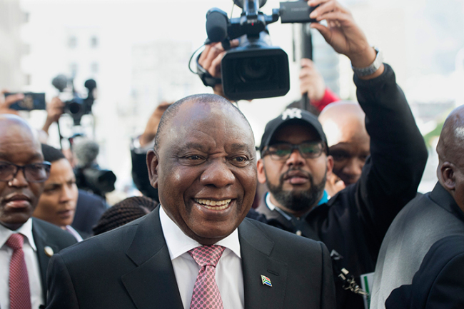 South African President Cyril Ramaphosa arrives for the swearing in ceremony of newly elected Members of Parliament for the 6th Democratic Parliament on May 22, 2019, in Cape Town. [Photo: AFP]
