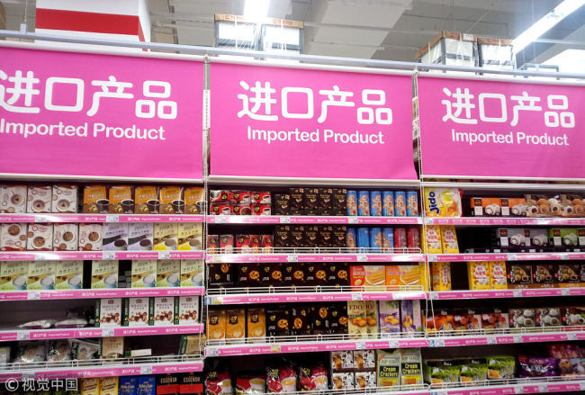Some imported products on shelves of a supermarket in Shanghai, October 29, 2018. [File Photo: VCG]