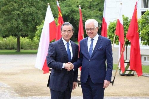 Chinese State Councilor and Foreign Minister Wang Yi (L) shakes hands with Polish Foreign Minister Jacek Czaputowicz in Warsaw, Poland, on July 8, 2019. [Photo: mfa.gov.cn]