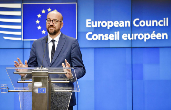 Belgian Prime Minister Charles Michel speaks during a media conference at an EU summit in Brussels, July 2, 2019. European Union leaders have named their new top team after three days of arduous negotiations. [Photo: AP]