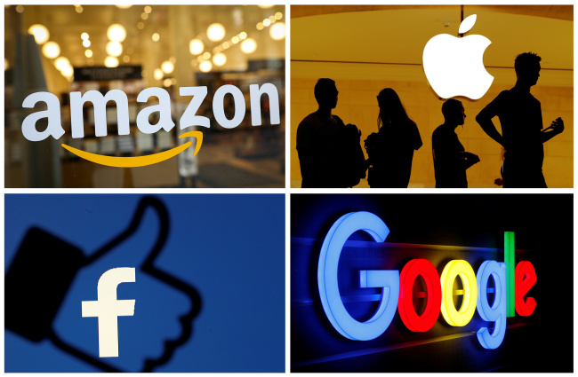 The logos of Amazon, Apple, Facebook and Google are seen in a combination photo. [File Photo: VCG]