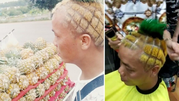 Fruit seller cuts hair to resemble pineapple in Nanning