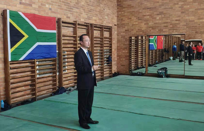 Michael Sun of the City of Johannesburg speaks to a group of trainees. [Photo: Joburg Public Safety]