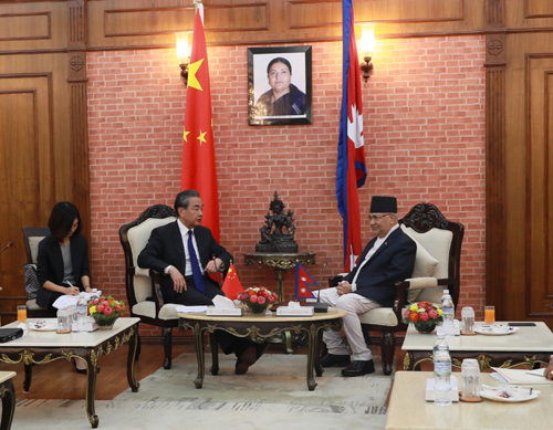 Nepali Prime Minister KP Sharma Oli (R) meets with Chinese State Councilor and Foreign Minister Wang Yi in Kathmandu, Nepal on Monday, September 9, 2019. [Photo: fmprc.gov.cn]