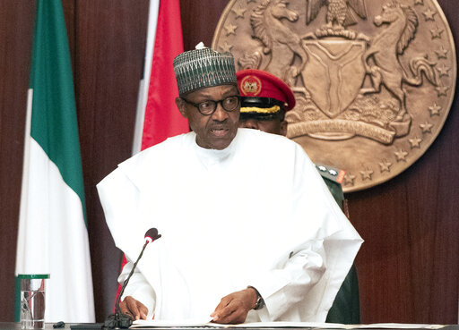 In this photo released by the Nigeria State House, Nigerian President Muhammadu Buhari speaks during the swearing in ceremony for newly appointed Ministers in Abuja, Nigeria Wednesday, Aug. 21, 2019.[Photo: AP]