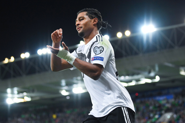Serge Gnabry (Germany) celebrates for his goal scored during the Euro 2020 qualification: game between Germany and Northern Ireland in Belfast on September 9, 2019. [Photo: IC]