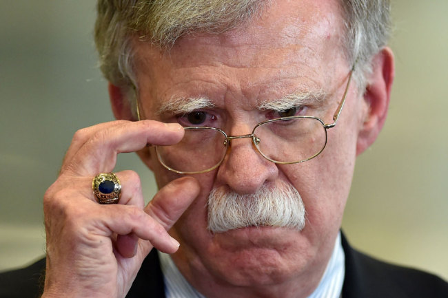 US National Security Advisor John Bolton answers journalists questions after his meeting with Belarus President in Minsk on August 29, 2019. [File photo: AFP/Sergei Gapon]