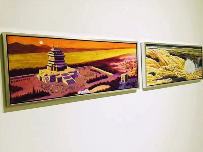 An exhibition shows the pictures drawn by Yu Dawu, in his illustration book dedicated to the Yellow River. The exhibition opened in Beijing on Wednesday, Sept. 18, 2019.[Photo: China Plus]