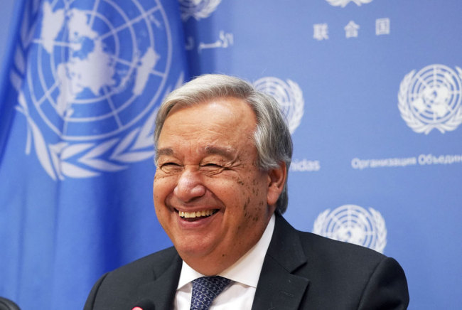 UN Secretary-General António Guterres arrives for a press briefing to mark the opening of the 74th session of the United Nations General Assembly at the UN in New York on September 18, 2019. [File photo: AFP/Timothy A. Clary]