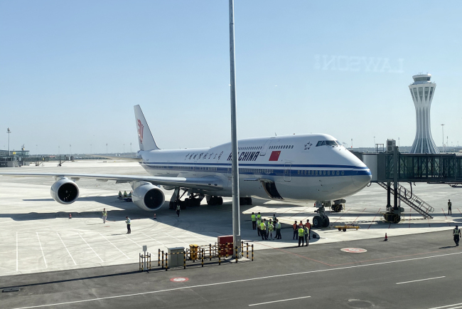 An Air China passenger plane is parked on the apron at the Beijing Daxing International Airport on September 25, 2019. [Photo: VCG]