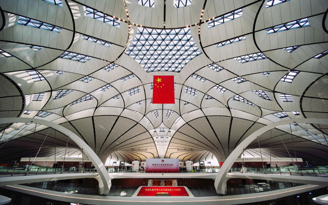 Interior view of the Beijing Daxing International Airport. The new airport is officially open after four years of construction in Beijing on September 25, 2019. [Photo: VCG]